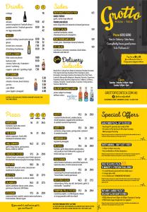 grotto takeaway menu image